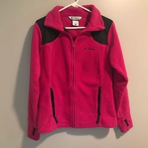 Columbia Fleece Jacket Size Large Pink Thumb Holes